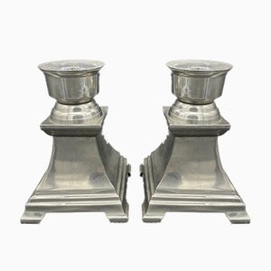 Bougeoirs en Bronze Plaqué Argent, Set de 2