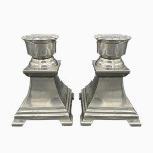 Portacandele in bronzo placcato in argento, set di 2