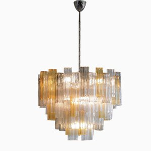 Amber, Clear & Brown Murano Glass Tronchi Chandelier, Italy