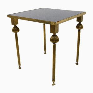 French Brass Nesting Tables with Mirrored Tops, 1950s, Set of 3