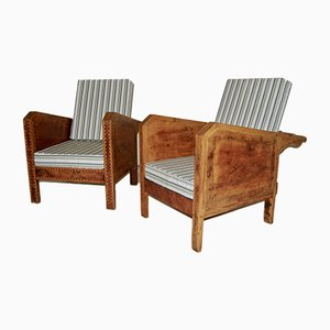 Vintage Wooden Veranda Armchairs with Marquetry, 1930s, Set of 2