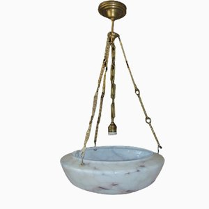 Art Deco Brass Chandelier and Lamp