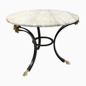 Wrought Iron Coffee Table with Brass Ram's Head and Hooves & Marble Top