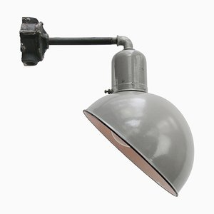 Vintage Dutch Industrial Gray Enamel Wall Light