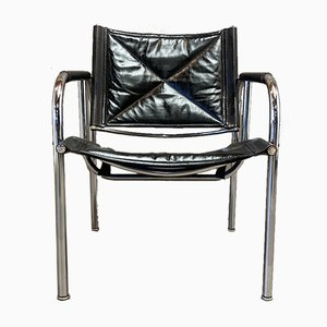 Black Leather and Chrome Armchair, 1960s