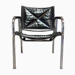 Schwarzer Armlehnstuhl aus Leder & Chrom, 1960er