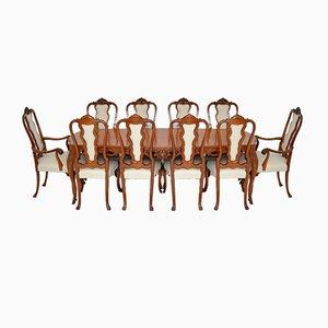 Antiker französischer Esstisch & Stühle aus Holz von King, 11er Set