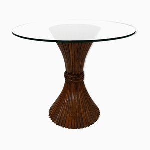 Dark Patinated Wheat Sheaf Table from McGuire, 1970s