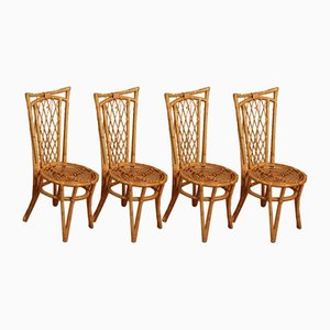 Rattan Chairs, 1960s, Set of 8