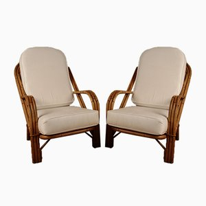 Rattan Armchairs by Audoux & Minet, Set of 2