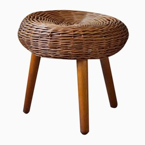 Mid-Century Tripod Stool in Woven Rattan Attributed to Tony Paul, 1950s