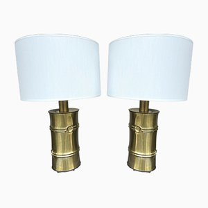 Italian Brass Bamboo Lamps, 1970s, Set of 2