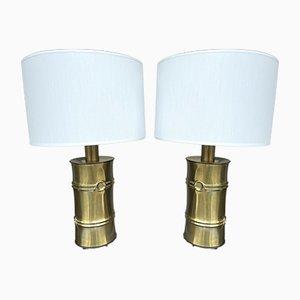 Italienische Messing Bambus Lampen, 1970er, 2er Set