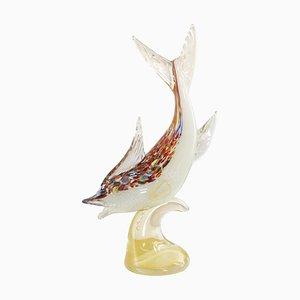 Scultura a forma di pesce su base in vetro di Murano, anni '90