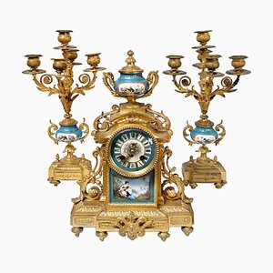 French Ormolu and Porcelain Mantel Clock and Candelabra, 19th Century, Set of 3