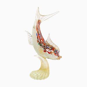 Spectacular Single Piece Sculpture Fish on a Murano Glass Base, 1990s