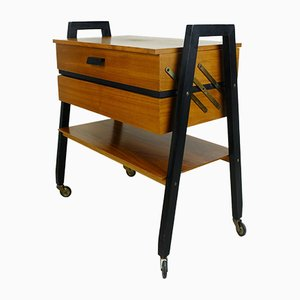 Mid-Century Extendable Sewing Box in Walnut and Black Lacquered Wood on Rollers, 1960s