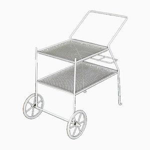 Mid-Century Italian Serving Carriage in Perforated Metal