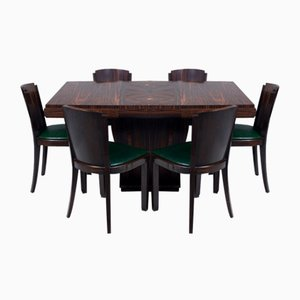 French Art Deco Macassar Dining Chairs, 1930s, Set of 6