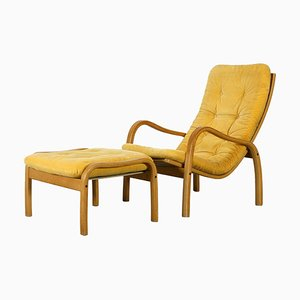 Scandinavian Modern Lounge Chair and Ottoman by Yngve Ekstrom for Swedese, Set of 2
