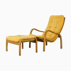 Skandinavischer moderner Sessel & Fußhocker von Yngve Ekstrom für Swedese, 2er Set