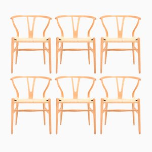 Wishbone Chairs in Patinated Oak by Hans Wegner for Carl Hansen & Søn, 1960s, Set of 6