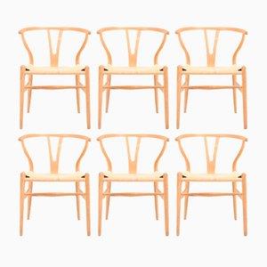 Wishbone Stühle aus patinierter Eiche von Hans Wegner für Carl Hansen & Søn, 1960er, 6er Set