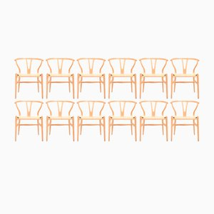 Wishbone Chairs in Patinated Oak by Hans Wegner for Carl Hansen & Søn, 1960s, Set of 12