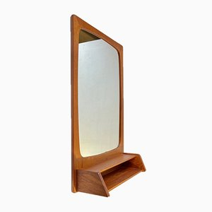 Scandinavian Mid-Century Console Mirror & Shelf in Teak, 1960s