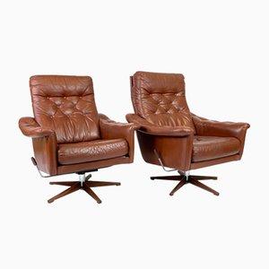 Swedish Leather Lounge Chairs, 1970s