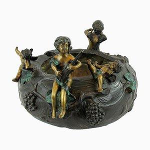 Großer Gusseisen Bronze Topf mit Engelchen, Frankreich, frühes 20. Jh