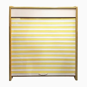 Mid-Century Modern Shoe Cabinet with Yellow & White Shutters, 1950s
