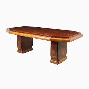 Tavolo da pranzo Art Déco in radica di noce