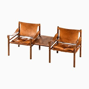 Model Sirocco Easy Chairs with Side Table by Arne Norell for Arne Norell AB, Set of 3