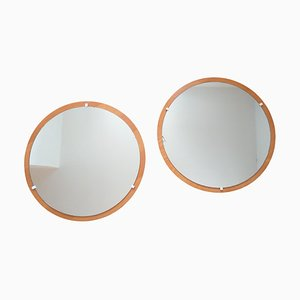 Teak Wall Mirrors, Denmark, 1960s, Set of 2