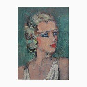 Mujer joven de perfil, escuela francesa, años 20