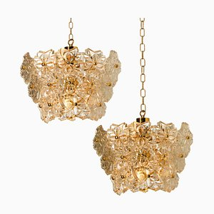 Glass and Brass Floral Three Tier Light Fixture from Hillebrand, 1970s, Set of 2