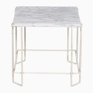 1960s Metal With Marble Side Table From the Netherlands