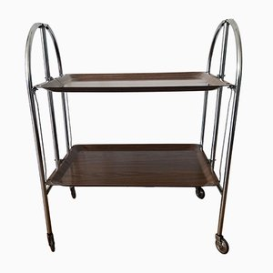 Dinett Serving Trolley in Chrome with Brown Trays, 1970s