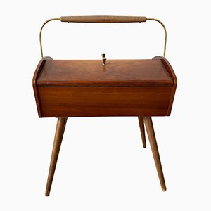 Mid-Century Wooden Sewing Box