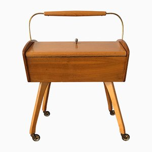Mid-Century Wooden Sewing Box on Rollers
