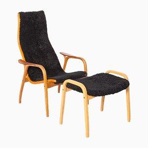 Lamino Chair in Sheepskin by Yngve Ekström for Swedese