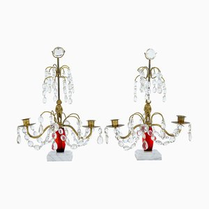 Mid-20th Century Cut Glass and Marble Candleholders, Set of 2