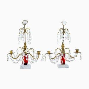 Mid-Century Kerzenhalter aus geschliffenem Glas & Marmor, 2er Set