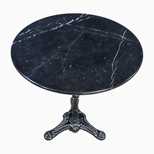 Vintage Black Bistro Table with Marble Top