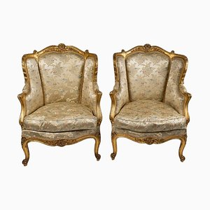Carved and Gilded Wood Bergère Armchairs, Set of 2