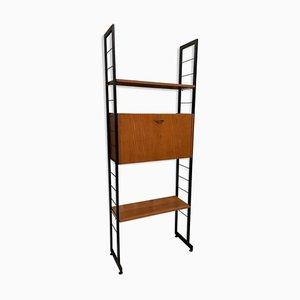 Italian Metal and Teak Separator Shelf, 1960s
