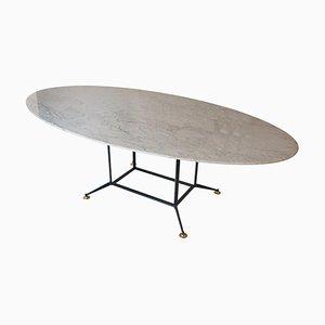 Carrara Marble Oval Dining Table, Italy, 1950s