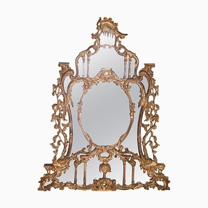 Neoclassical Gold Foil Hand Carved Wooden Mirror, 1970s