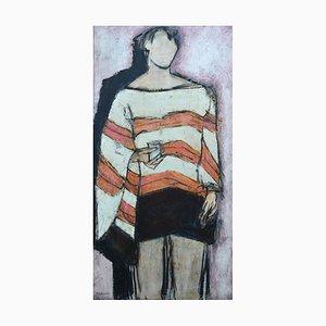 John Emanuel, Stripy Top, 2014, Mixed Media Figurative Painting